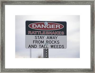 Texas Danger Rattle Snakes Signage Framed Print by Thomas Woolworth