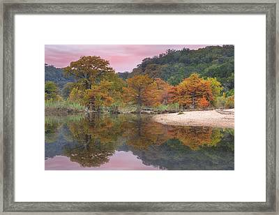 Texas Fall Colors - Pedernales Falls State Park Reflections 1 Framed Print by Rob Greebon