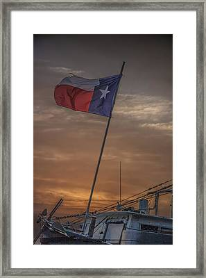 Texas Flag Flying From A Fishing Boat At Sunrise Framed Print by Randall Nyhof