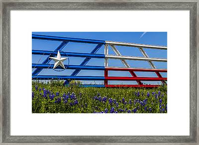 Texas Flag Painted Gate With Blue Bonnets Framed Print