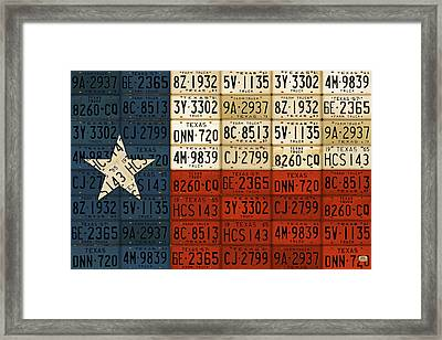 Texas Flag The Lone Star State License Plate Art Framed Print