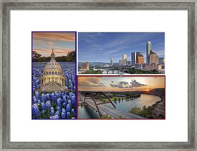 Texas Flag With Bluebonnets The State Capitol The Austin Skyline And 360 Bridge Framed Print by Rob Greebon