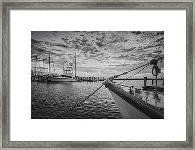 Texas Gulf Coast Images  Boats Of Rockport 4 Black And White Framed Print by Rob Greebon