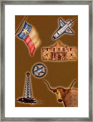 Texas Icons Poster By Sant'agata Framed Print by Frank SantAgata