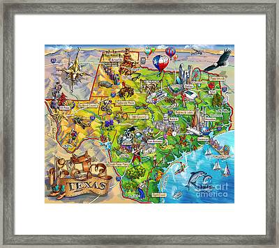 Texas Illustrated Map Framed Print by Maria Rabinky