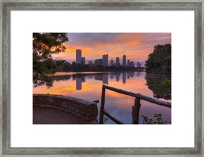 Texas Images - Lou Neff Point And The Austin Skyline Framed Print by Rob Greebon