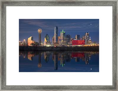 Texas Images - The Dallas Skyline Reflected In The Trinity River Framed Print
