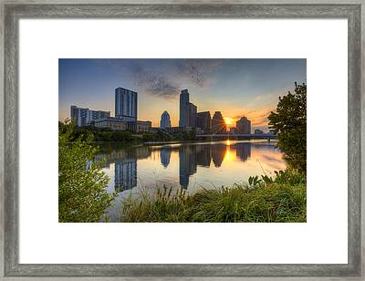 Texas Images - Austin Skyline At Sunrise From Zilker Park Framed Print by Rob Greebon