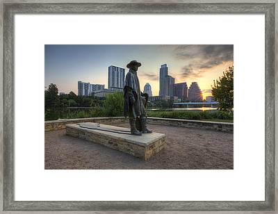 Stevie Ray Vaughan And The Austin Skyline Framed Print by Rob Greebon