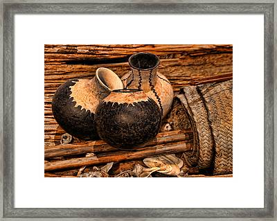 Texas Indian Potterry Jars And Artifacts Framed Print by Linda Phelps