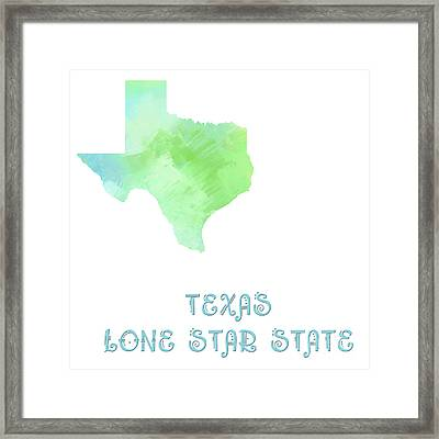 Texas - Lone Star State - Map - State Phrase - Geology Framed Print by Andee Design