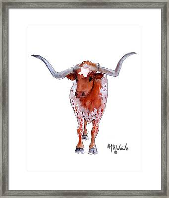 Texas Longhorn Framed Print by Kathleen McElwaine