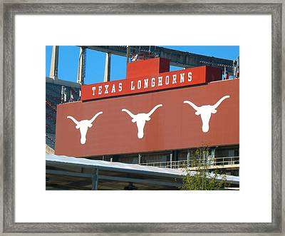 Framed Print featuring the photograph Texas Longhorns Sign by Connie Fox