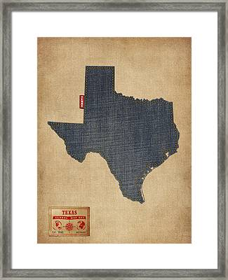 Texas Map Denim Jeans Style Framed Print by Michael Tompsett