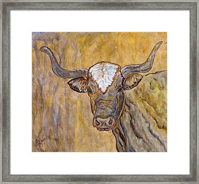 Framed Print featuring the painting Texas O Texas Longhorn by Ella Kaye Dickey