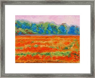 Texas Paintbrush Spring Flowers Oil Painting Bertram Poole Framed Print by Thomas Bertram POOLE