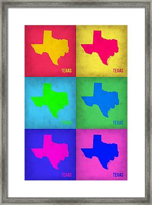 Texas Pop Art Map 1 Framed Print by Naxart Studio