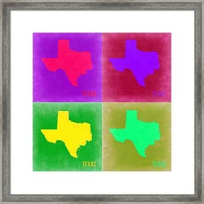 Texas Pop Art Map 2 Framed Print