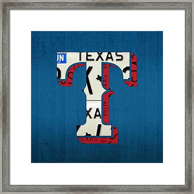Texas Rangers Baseball Team Vintage Logo Recycled License Plate Art Framed Print by Design Turnpike