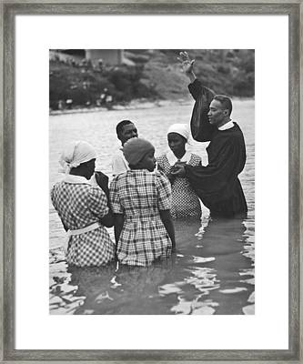 Texas River Baptism Framed Print by Underwood Archives