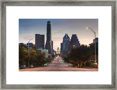 The Austin Skyline And Texas State Capitol From Congress 1 Framed Print by Rob Greebon
