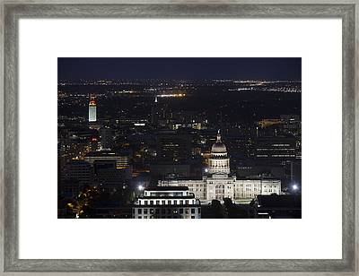 Texas State Capitol And The Ut Tower At Night Framed Print by Rob Greebon