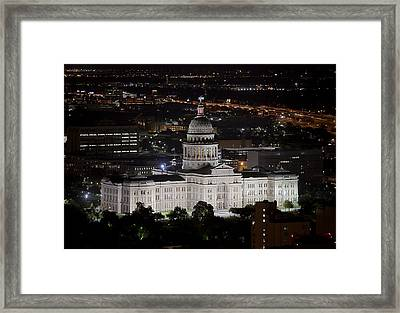 Texas State Capitol At Night Framed Print by Rob Greebon