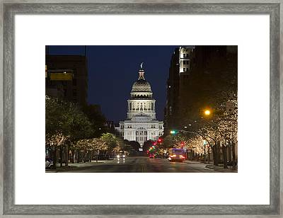 View Of The Texas State Capitol In Austin From Congress Avenue 1 Framed Print
