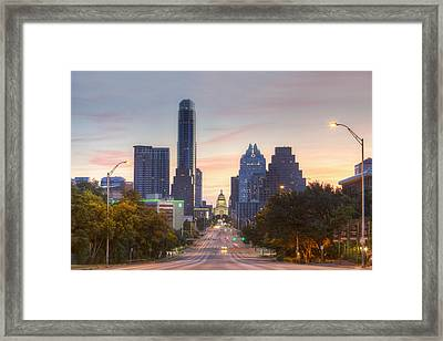 Texas State Capitol From Congress Avenue In The Morning 7 Framed Print by Rob Greebon