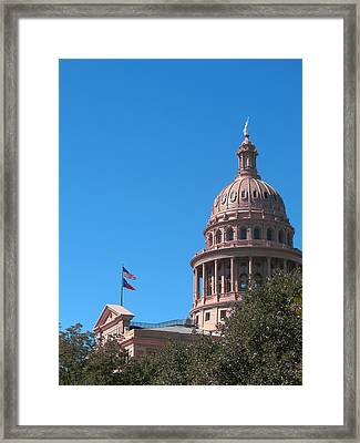 Framed Print featuring the photograph Texas State Capitol With Pediment by Connie Fox