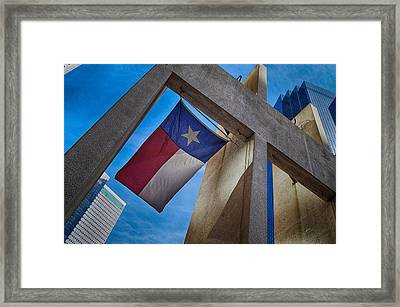 Framed Print featuring the photograph Texas State Flag Downtown Dallas by Kathy Churchman