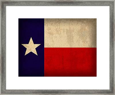 Texas State Flag Lone Star State Art On Worn Canvas Framed Print by Design Turnpike