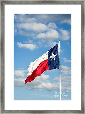 Texas State Flag Waving Framed Print
