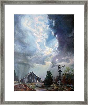 Framed Print featuring the painting Texas Thunderstorm by Karen Kennedy Chatham