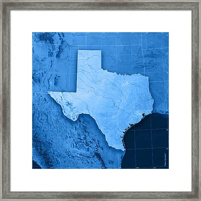 Texas Topographic Map Framed Print by Frank Ramspott