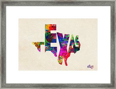 Texas Typographic Watercolor Flag Framed Print