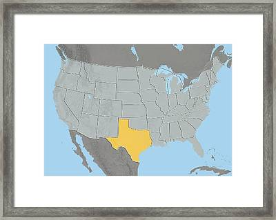 Texas, Usa, Relief Map Framed Print