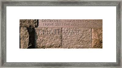 Text Engraved On Stones At A Memorial Framed Print