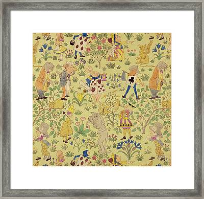 Textile Design For Alice In Wonderland Framed Print