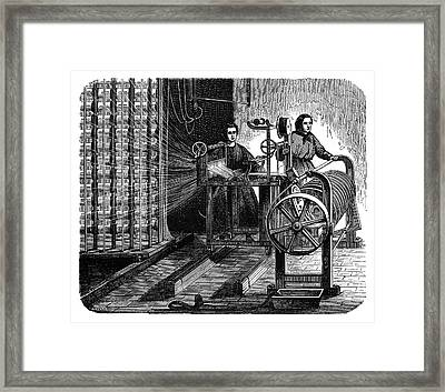 Textile Mill Warping Creel Framed Print by Science Photo Library