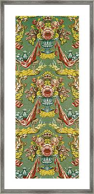 Textile With A Repeating Floral Motif, Lyon Workshop, Circa 1730 Silk Brocade Framed Print by French School