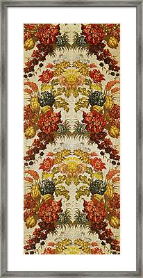 Textile With A Repeating Floral Pattern, Lyon Workshop, C.1740 Silk Brocade Framed Print by French School