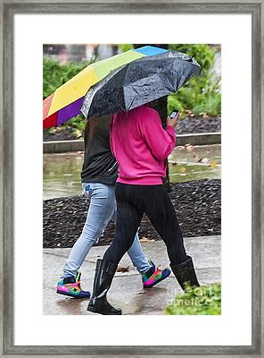 Texting In The Rain Framed Print