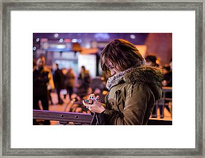 Texting Framed Print by Pablo Lopez