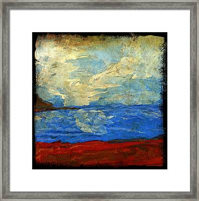 Textured Beach Scene Painting Fine Art Print Framed Print by Laura Carter