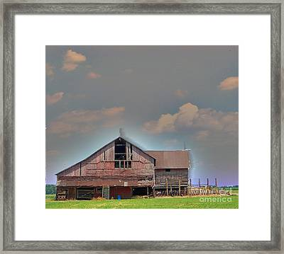 Framed Print featuring the photograph Textured - Grey Barn by Gena Weiser