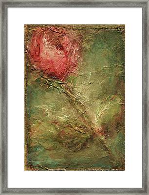 Framed Print featuring the painting Textured Rose Art by Mary Wolf