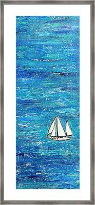 Textured Sea With Sailboat Framed Print by Lauretta Curtis