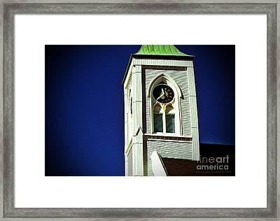 Framed Print featuring the photograph Textured Steeple Clock by Gena Weiser