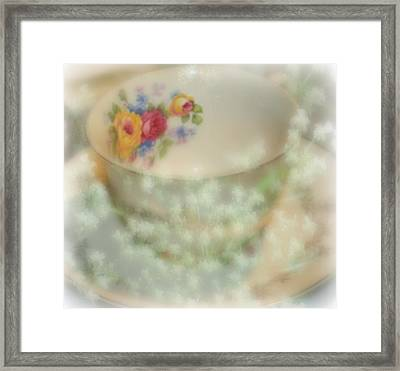 Textured Tea Cup Framed Print by Barbara S Nickerson